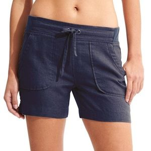 Athleta Blue Linen Drawstring Shorts